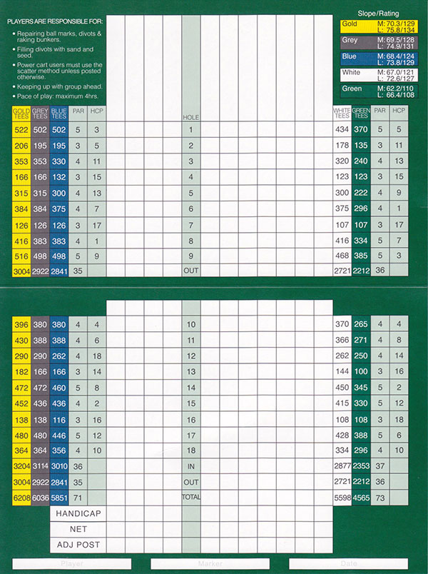 Beach Grove Golf Club Scorecard
